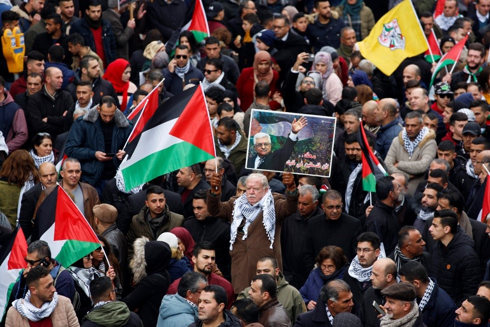 "Palestinians in Ramallah demonstrate against the U.S. peace plan prior to Mahmoud Abbas' speech at the U.N. in mid-February. Abbas called the plan, which promised Palestinian statehood and $50 billion in development funds, ""illegal""—another among many missed opportunities over the decades to achieve sovereignty."