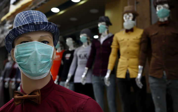 Mannequins in Gaza City wear face masks emblematic of the corona crisis. Israel has sent more than 50,000 face masks, 3,000 test kits and 1,000 protective medical gear kits to Palestinians in Judea-Samaria and Gaza.