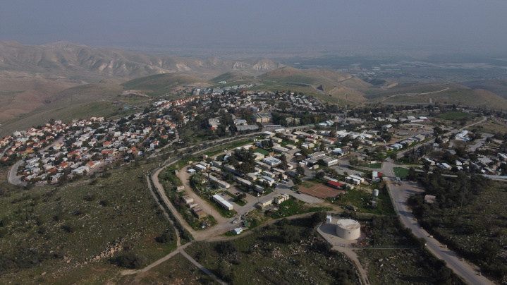 The community of Ma'ale Efraim in the Jordan Valley, a region where Jews are the majority population and Israel is planning to extend civil sovereignty. This territory is part of that originally granted the Jewish state by the League of Nations a century ago.