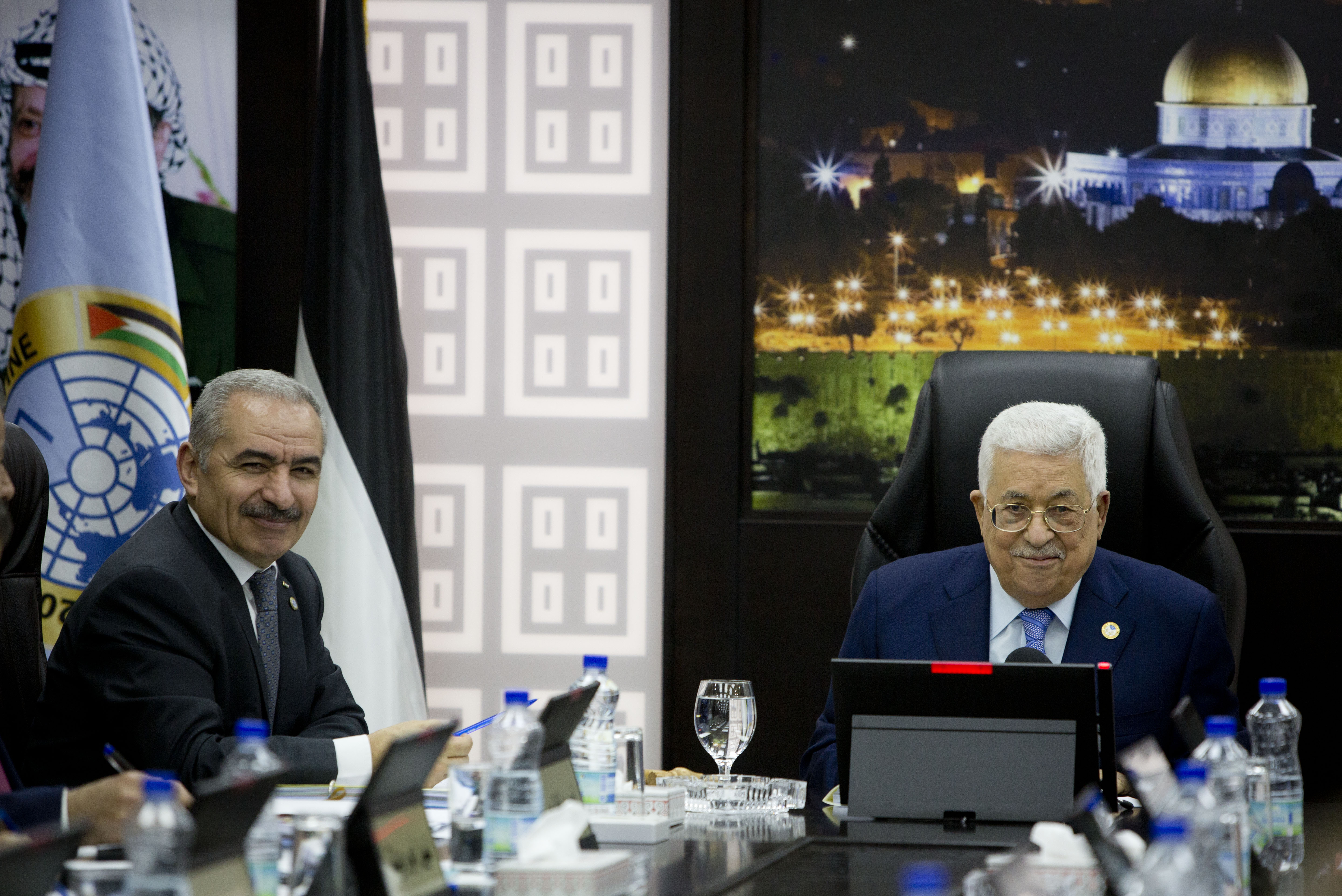 Palestinian President Mahmoud Abbas with Prime Minister Mohammad Shtayyeh
