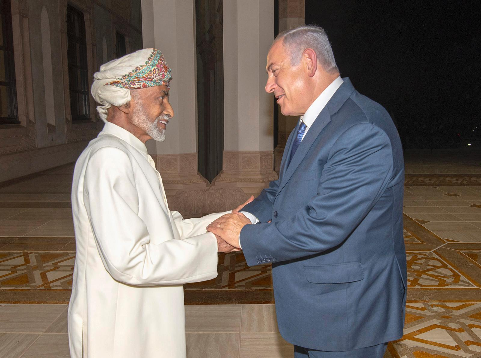 Oman's Sultan Qaboos welcomes Israeli Prime Minister Netanyahu in Muscat, Oman in October 2018. Thanks for intensive efforts by Israel to forge closer relationships with Arab Gulf states, this was the first visit to Oman by an Israeli head of state since 1996.