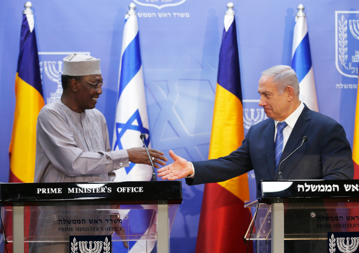 Israeli Prime Minister Benjamin Netanyahu, right, greets President of Chad Idriss Deby in Jerusalem last November. This was the first-ever visit of a president of Chad, which broke off relations with Israel in 1972. Chad, as well as African neighbor Malawi, recently announced plans to open diplomatic missions in Jerusalem.