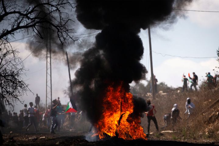 Palestinians demonstrate near Nablus in Judea (aka West Bank), opposing Jewish settlement in the Holy Land. While Palestinian leaders claim they want land for peace, in more than 72 years they've refused many offers. It appears their true goal is to remove Jews entirely from the region.