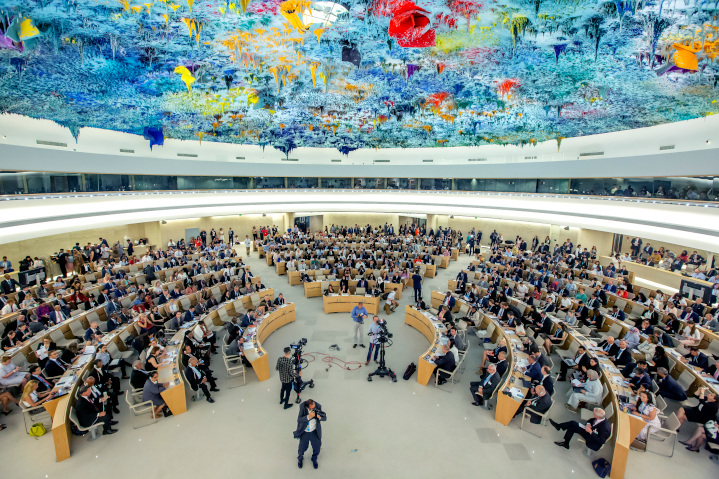 "Headquarters for the UN Human Rights Council, a glittering example of UN hypocrisy, whose newest members include China, Russia, Cuba and Pakistan and whose agenda uniquely features a standing item on Israel's ""violations."" This is just one example of the UN's moral bankruptcy."