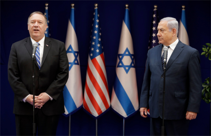 U.S. Secretary of State Mike Pompeo meets with Israel's Prime Minster Bibi Netanyahu. Secretary Pompeo announced last month that America considers Israel's communities in Judea and Samaria to be legal, reversing the Obama policy promulgated by former Secretary John Kerry in December, 2016 at the UN Security Council.