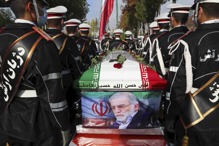 """Military funeral for Mohsen Fakhrizadeh, brigadier general in Iran's Islamic Revolutionary Guard Corps (IRGC) and """"father of Iran's nuclear bomb,"""" who was assassinated near Tehran by unknown assailants. Fakhrizadeh was under U.S. sanctions for his both his roles."""