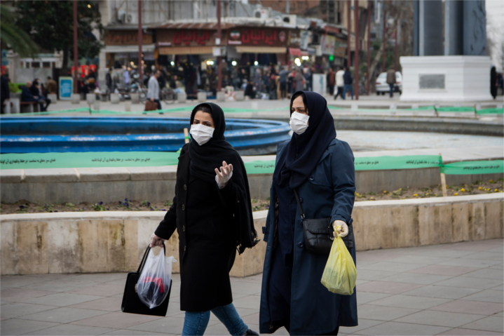 Largely empty streets and squares mark many Iranian cities.  Here, two women return home in in the Iranian city of Rasht, which has the largest number of COVID-19 cases and the highest mortality rate in Iran.  Its main hospital is full, its chief executive is among the dead, and the hospital is not accepting new patients.
